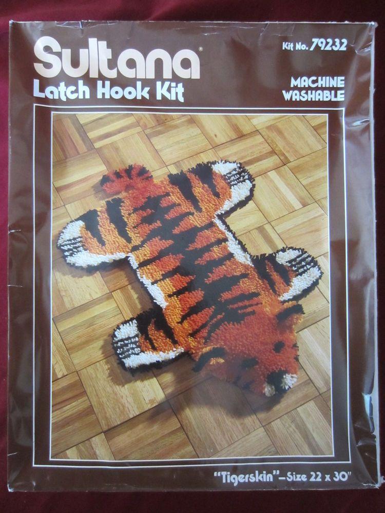 """CRAFTWAYS LARGE ANIMAL LATCH HOOK RUG KIT  /""""TIGER SKIN/"""""""