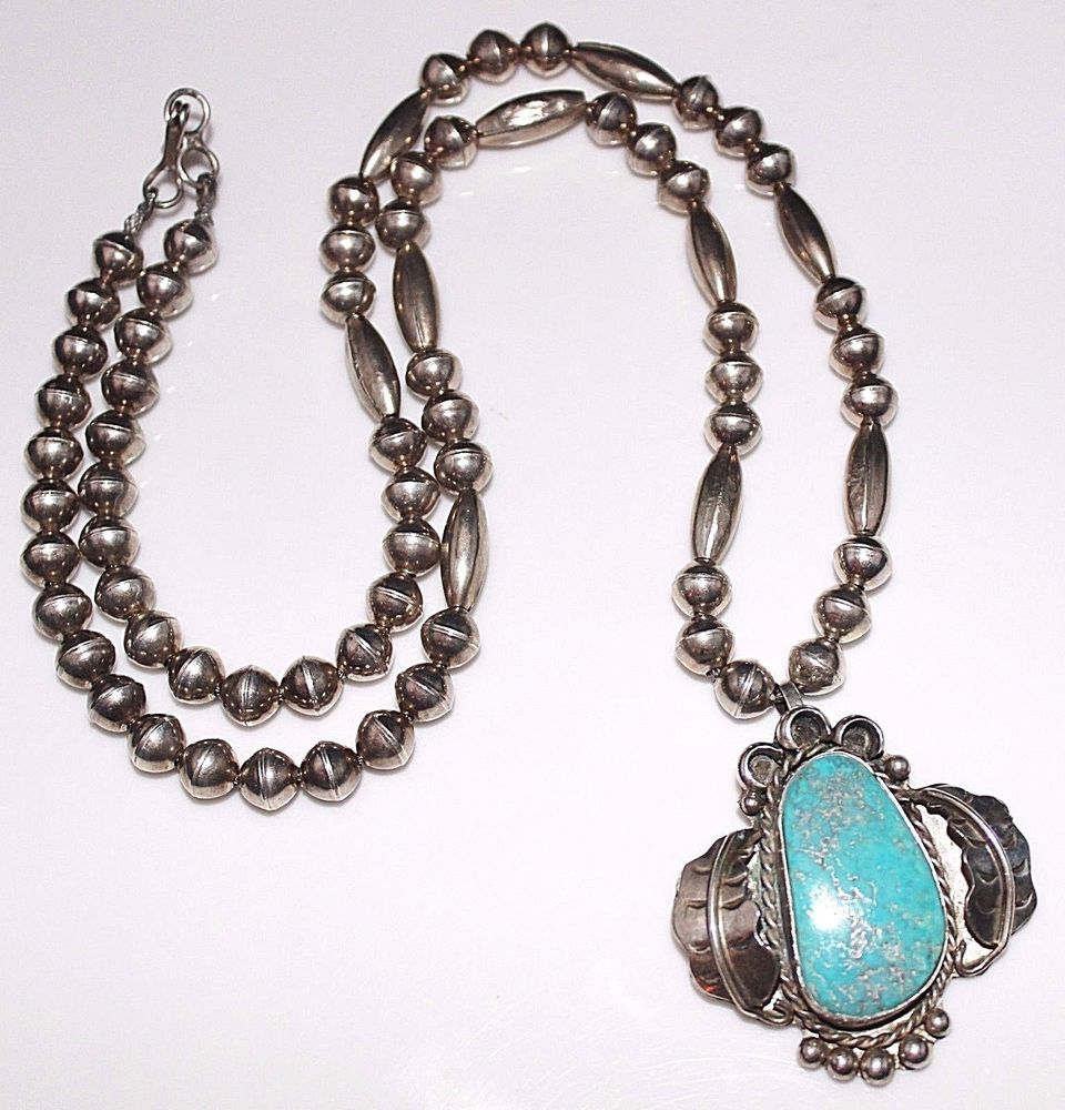Vintage 1970\'s NAVAJO Indian Sterling Silver Turquoise Necklace ...