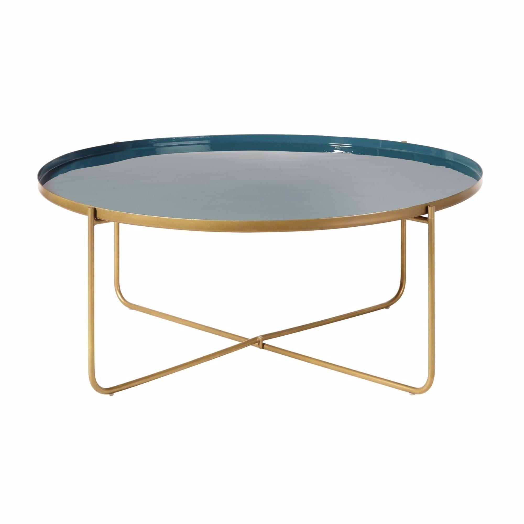 Table Basse Ronde En Metal Bleu Canard Et Dore Galet Maisons Du Monde In 2020 Coffee Table Metal Coffee Table Round Metal Coffee Table