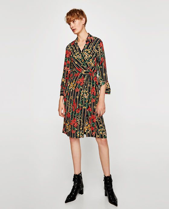 20734d3f8b80 Image 1 of STRIPED AND FLORAL PRINT SHIRT DRESS from Zara