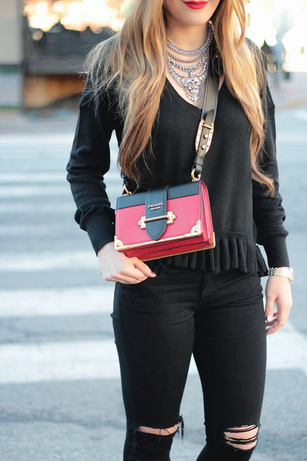 73c501d5a9c00e Black and Red, City style, Prada Cahier Bag, Ruffle Sweater, Rachel  Puccetti Between Two Coasts