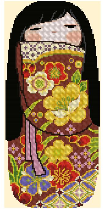 Kokeshi Girly Doll 4 (Hiromi) - Cross Stitch Chart