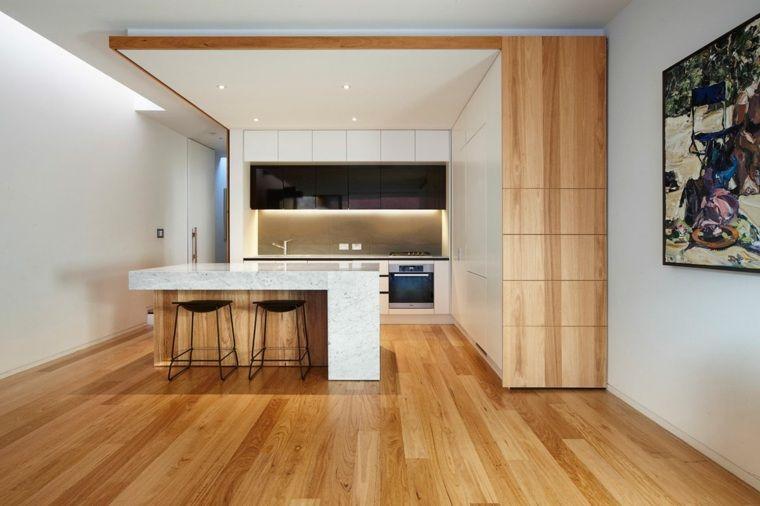 La cuisine blanche et bois dans tous ses états   Îlot de cuisine ...