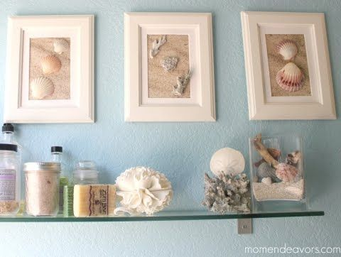 Diy Framed Shell Wall Art Coastal Bathroom Decor Beach Bathroom Decor Bathroom Wall Decor