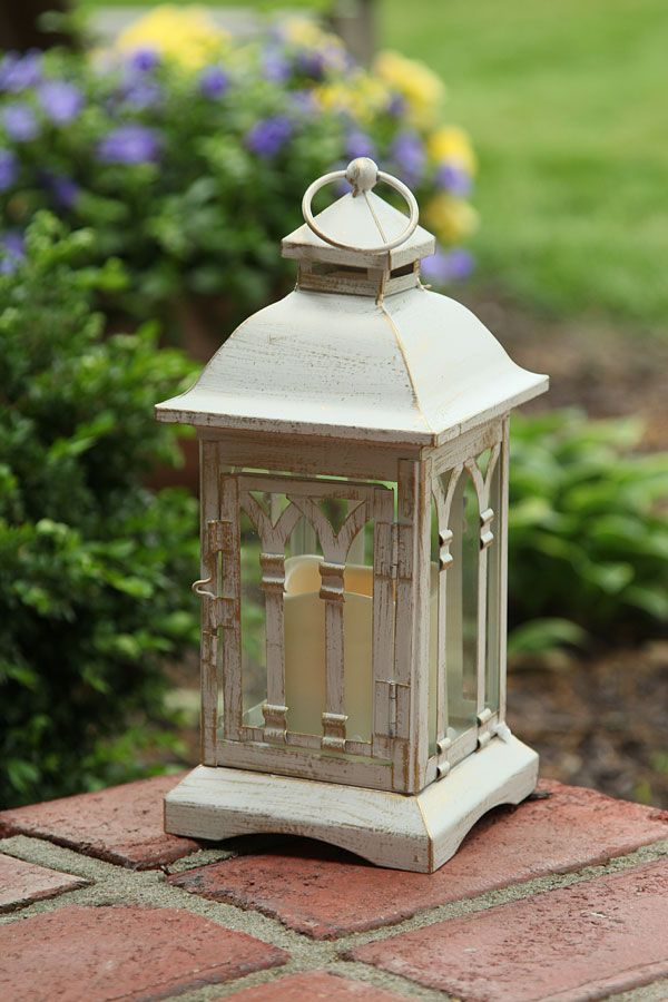 Battery Operated 12 Inch Antique Ivory Candle Lantern 6