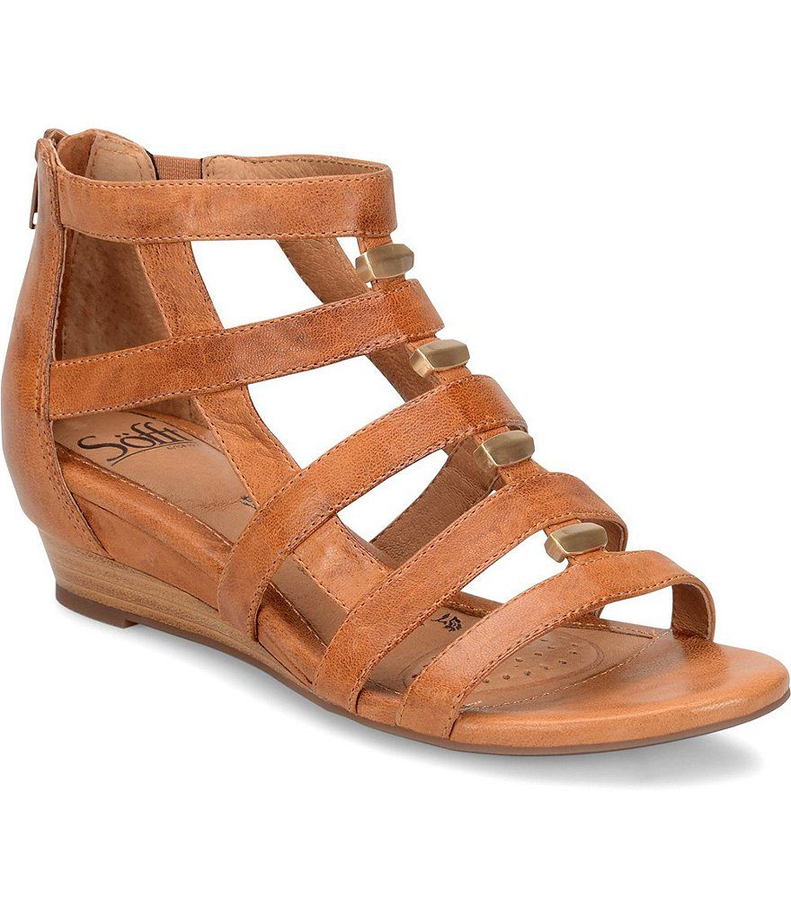 a82addf4647 Sofft Rio Leather Caged Metal Detail Gladiator Wedges | Clothes ...