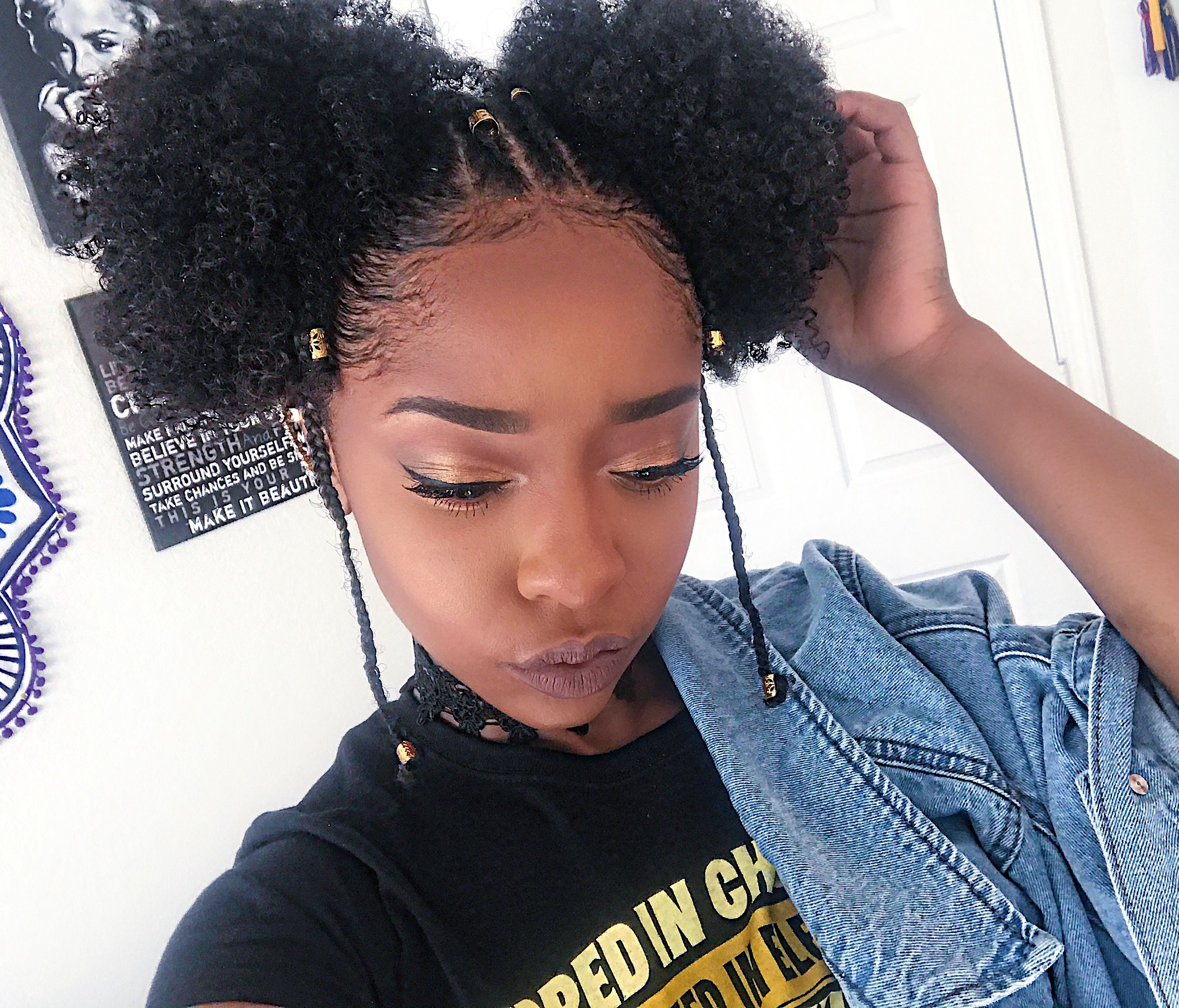 Fulani Tribe Inspired Hairstyle Naturalhair 3c 4a Youtuber Leslielatrice Ponypuffs Two Curly Hair Styles Curly Hair Styles Naturally Natural Hair Styles