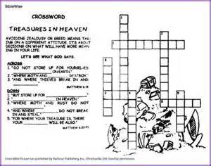 Treasures In Heaven Crossword Puzzle Kids Korner Biblewise