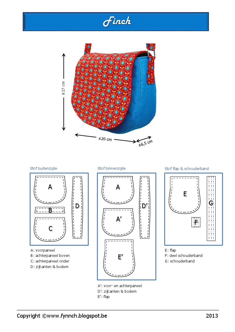 Finch.pdf (gratis patroon) | Sewing | Pinterest | Patrones, Bolsos y ...