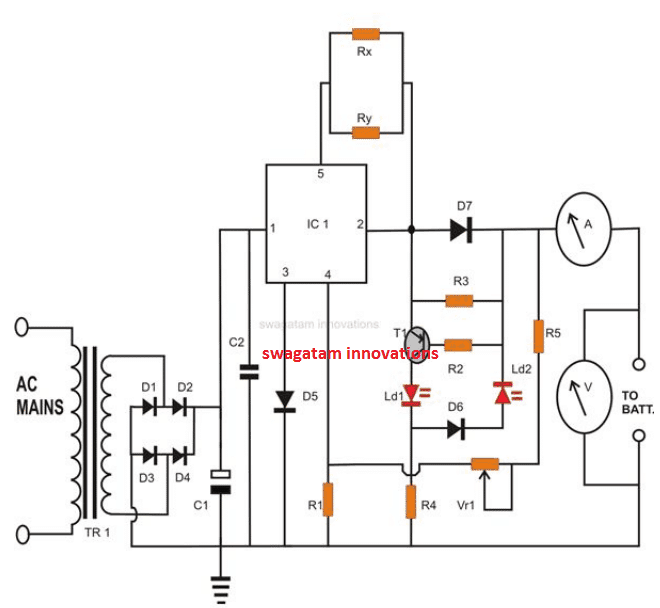 12V Battery Charger Circuits [using LM317, LM338, L200