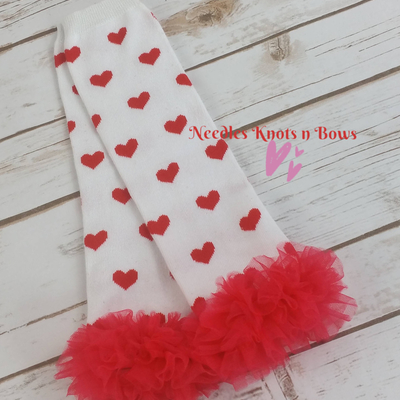 Black with Red Hearts /& Red Chiffon Ruffle Leg Warmers