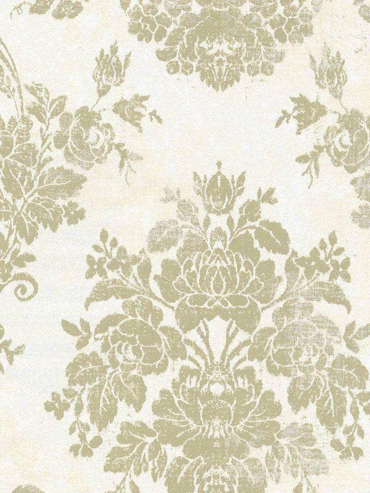Cream Olive Faded Vintage Damask Wallpaper By Brewster