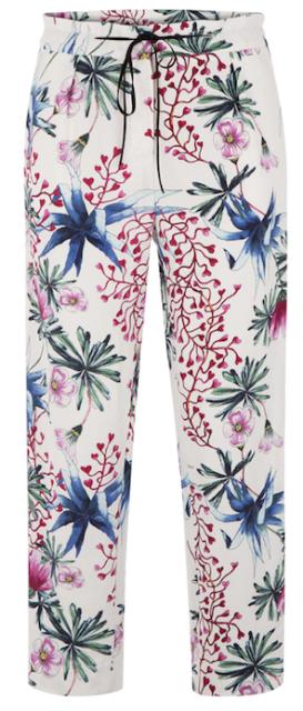 48bf020519 Pantalon blanc à imprimé fleurs exotique rouge, verte, bleu, rose, Maje