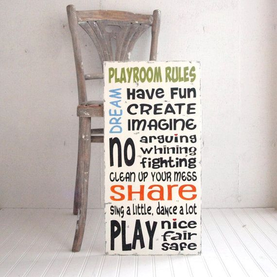Family Rules Playroom Rules Wood Sign Have Fun by SignsofVintage, $80.00