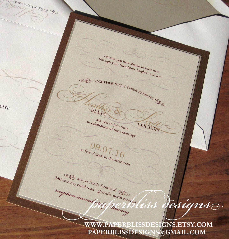 Old World Wedding Invitations SAMPLE SET - Vintage wedding ...