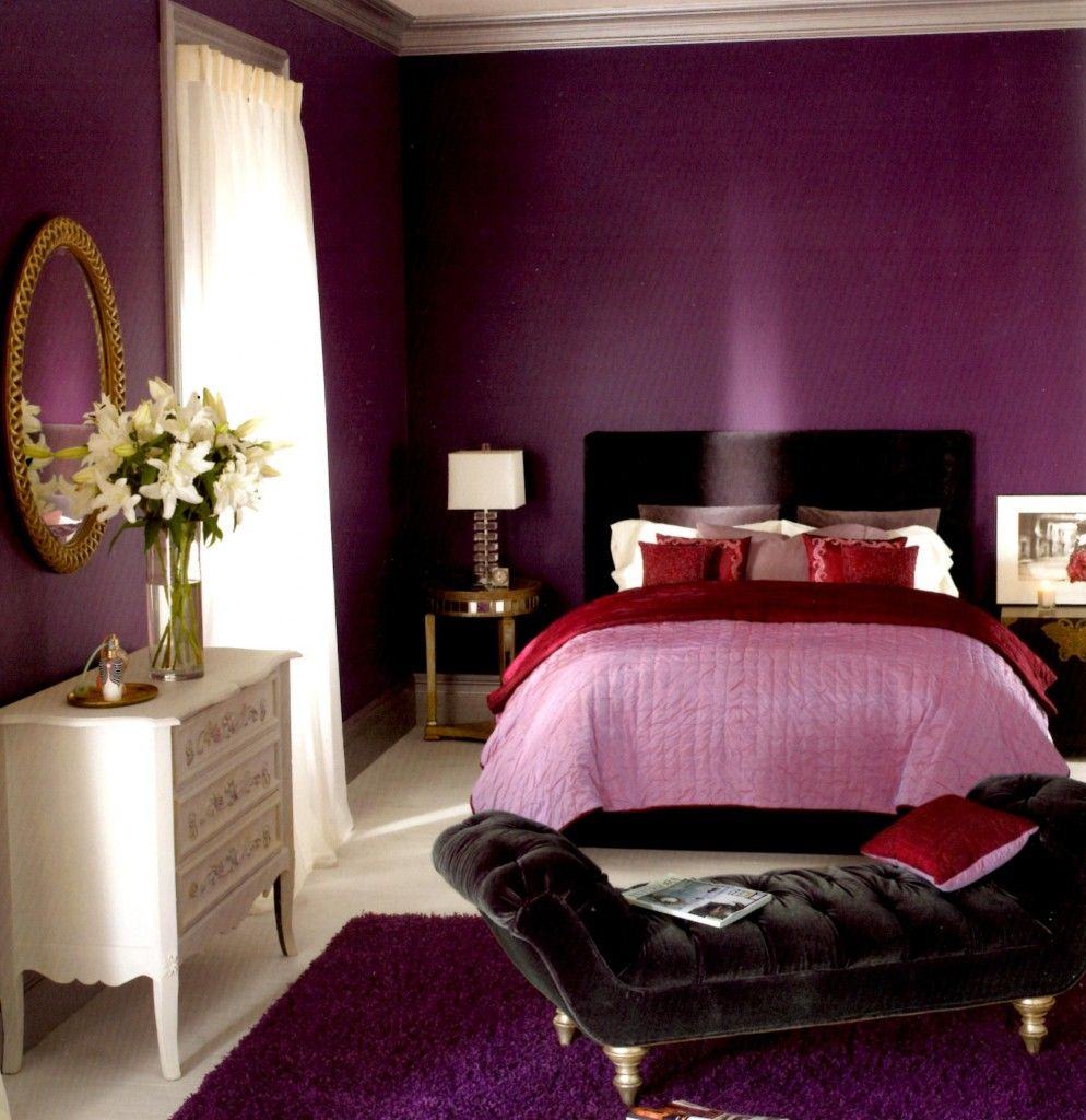 Analogous color scheme. Bedroom. Purple Interior design ...