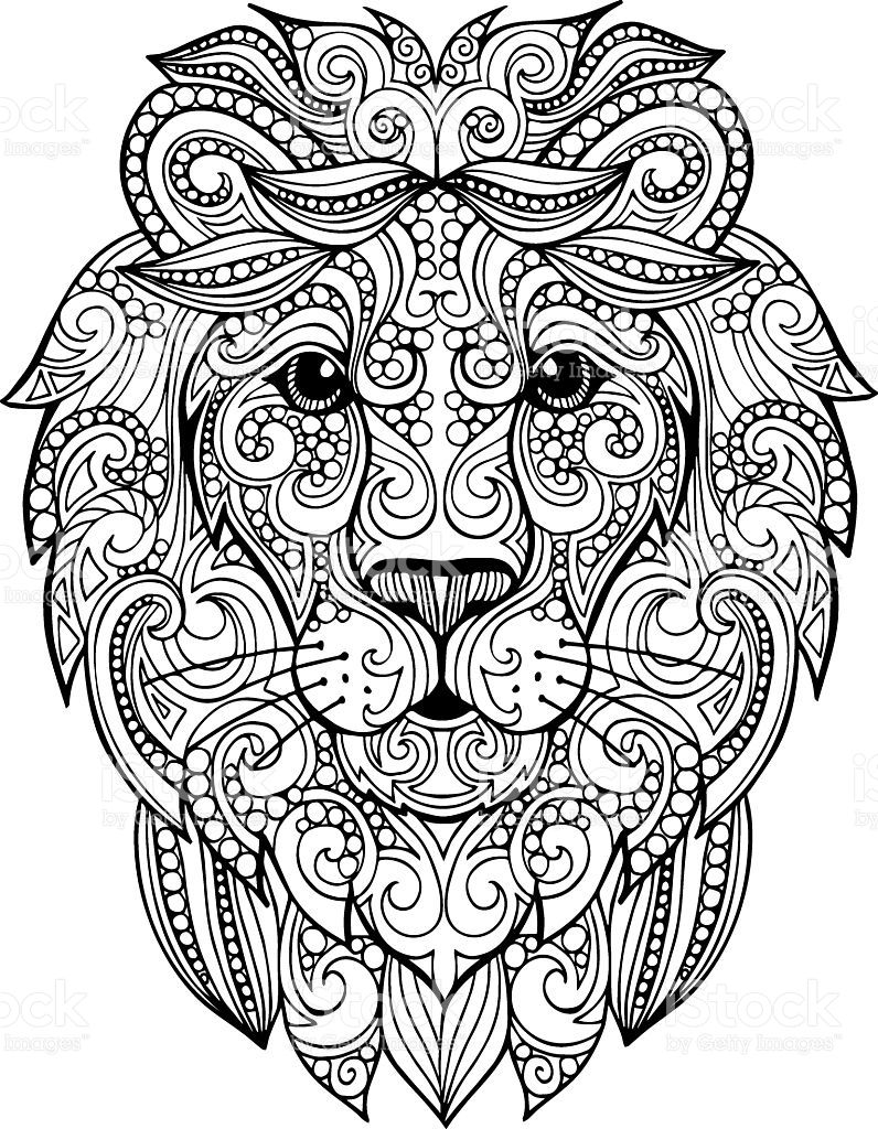 Hand Drawn Doodle Ornate Lion Illustration Lizenzfreies Hand Drawn Doodle Ornate Lion Illustration Stock Vektor A Lowen Illustration Mandala Ausmalen Zeichnung