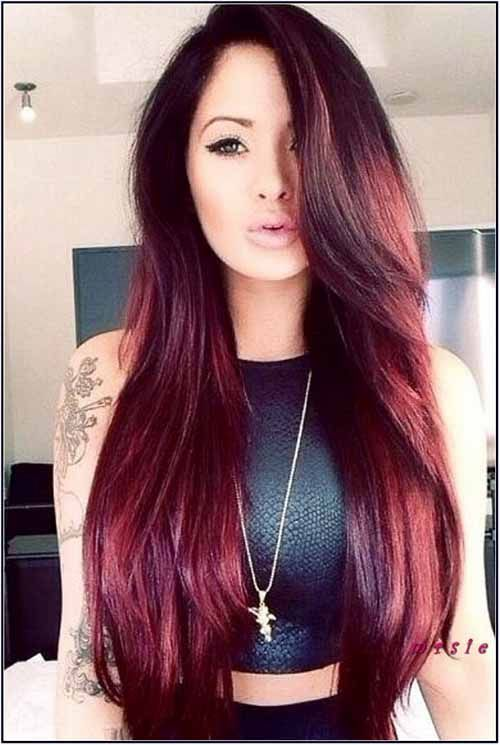 Hair Cherry Red In Color Long Straight With Bangs