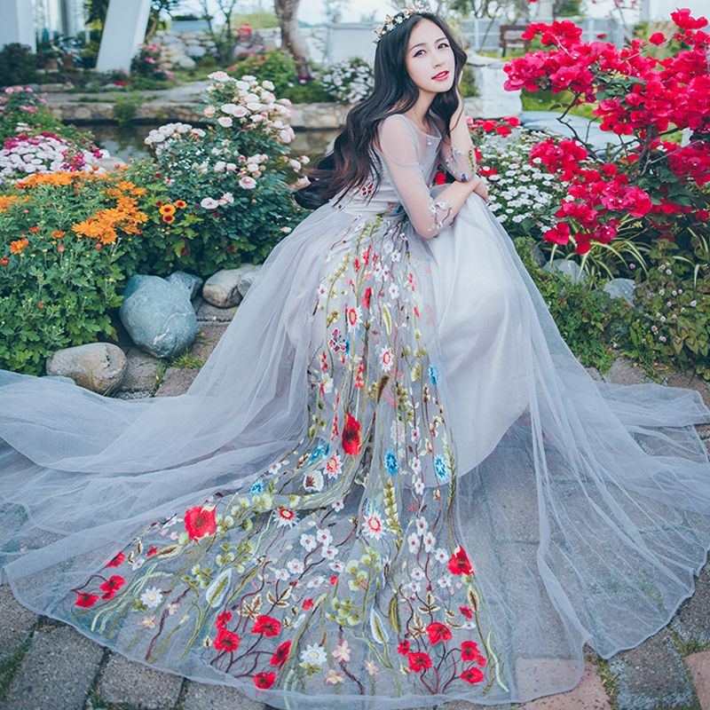 f707f0f8e29 Thailand Beach Dress Luxury Embroidery Fairy Dresses Sweet Princess Ball  Gown Mesh Perspective Dress Slim Jacquard Flower