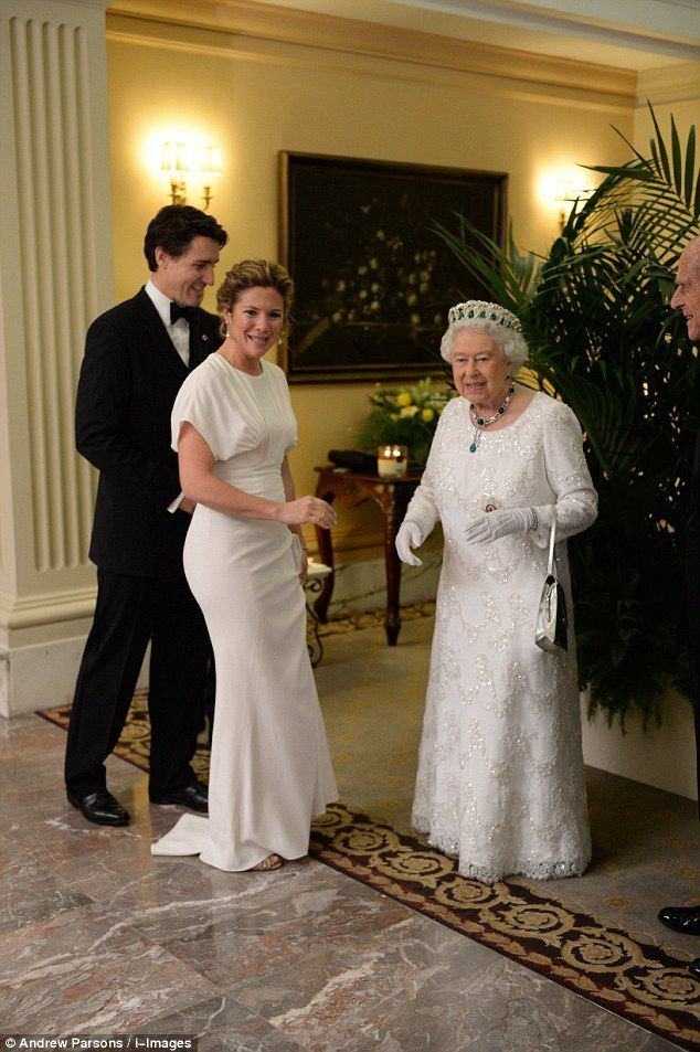 Canadian Prime Minister Justin Trudeau and wife Sophie Grégoire appeared to share a joke with Her Majesty