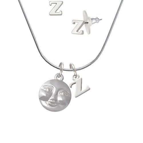 2154c49d7ed9 Silvertone Happy Moon - Z Initial Charm Necklace and Stud Earrings Jewelry  Set -- Be
