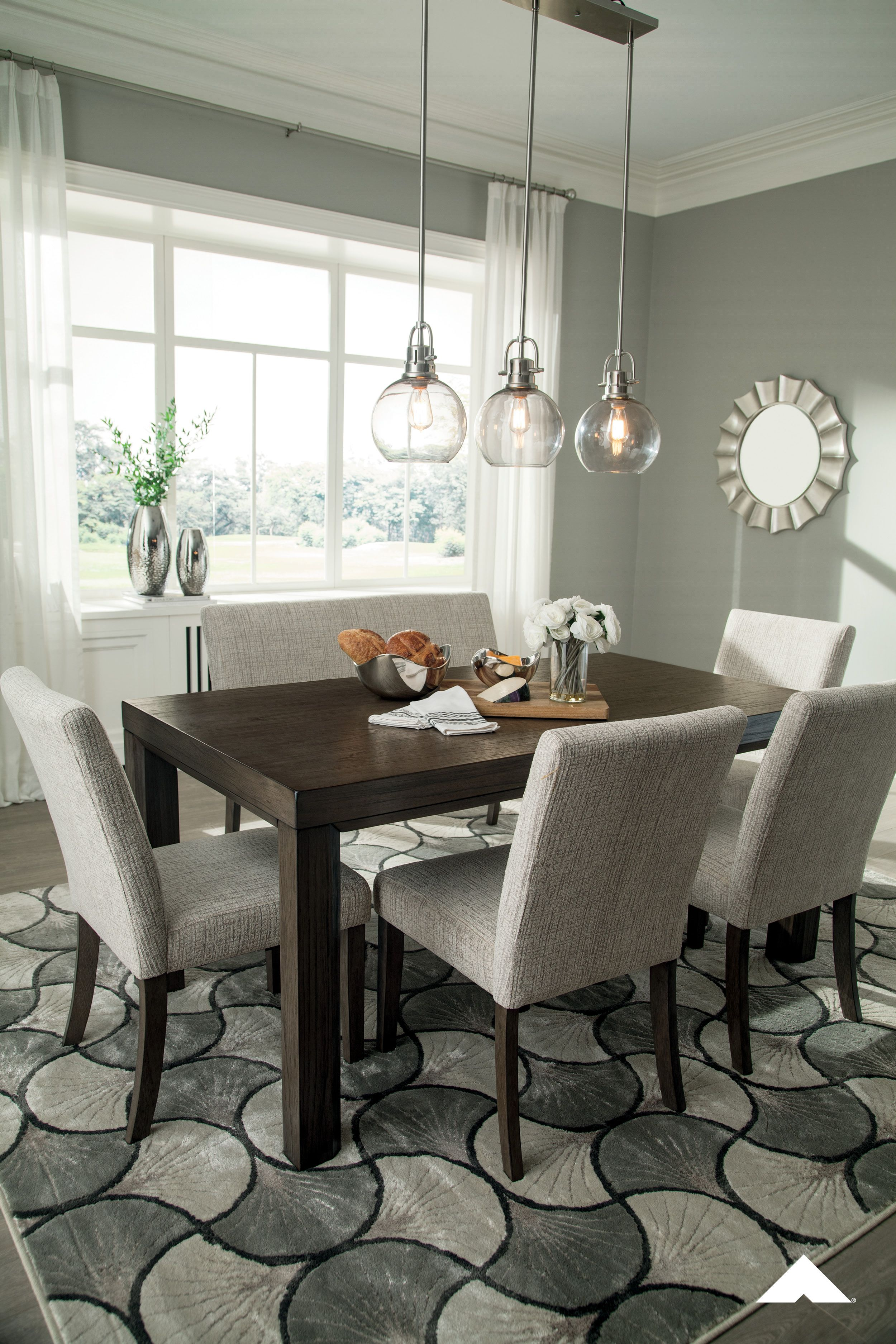 Deylin Rectangular Dining Room Table And Gray Upholstered Side