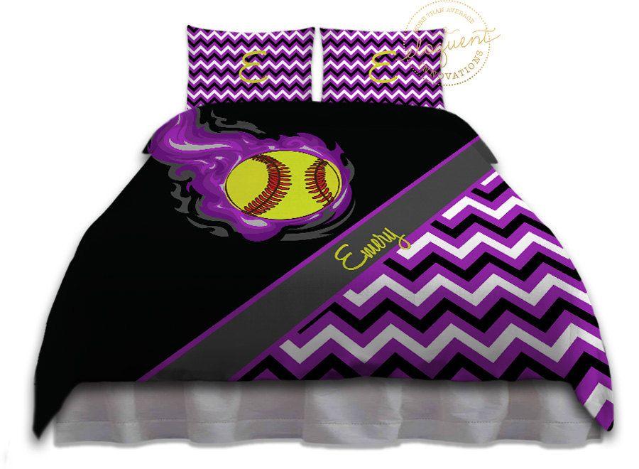 Softball Comforter Set Softball Bedding Purple Black Bedding For Girls Softball Comforters King Queen Full Twin Xl 283 With Images Softball Comforter Purple Bedding Girls Softball Room