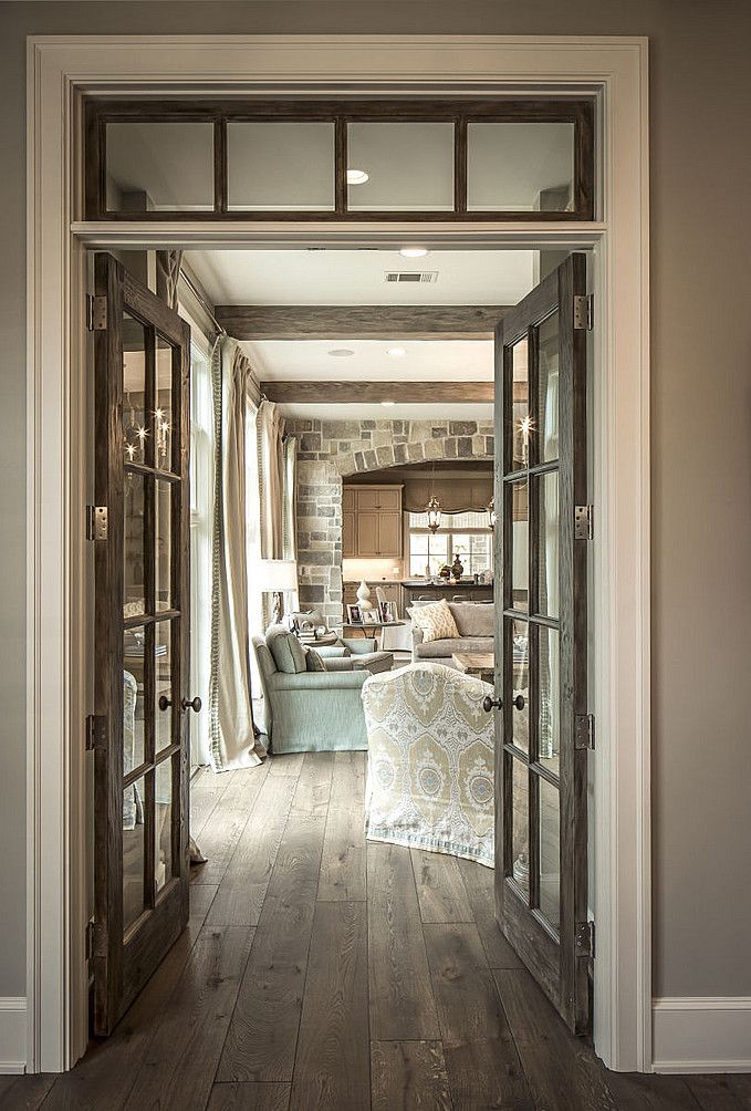 Rustic Exposed Wood Next To Crisp White Woodwork Beautiful French Doors Interior French Style Homes House