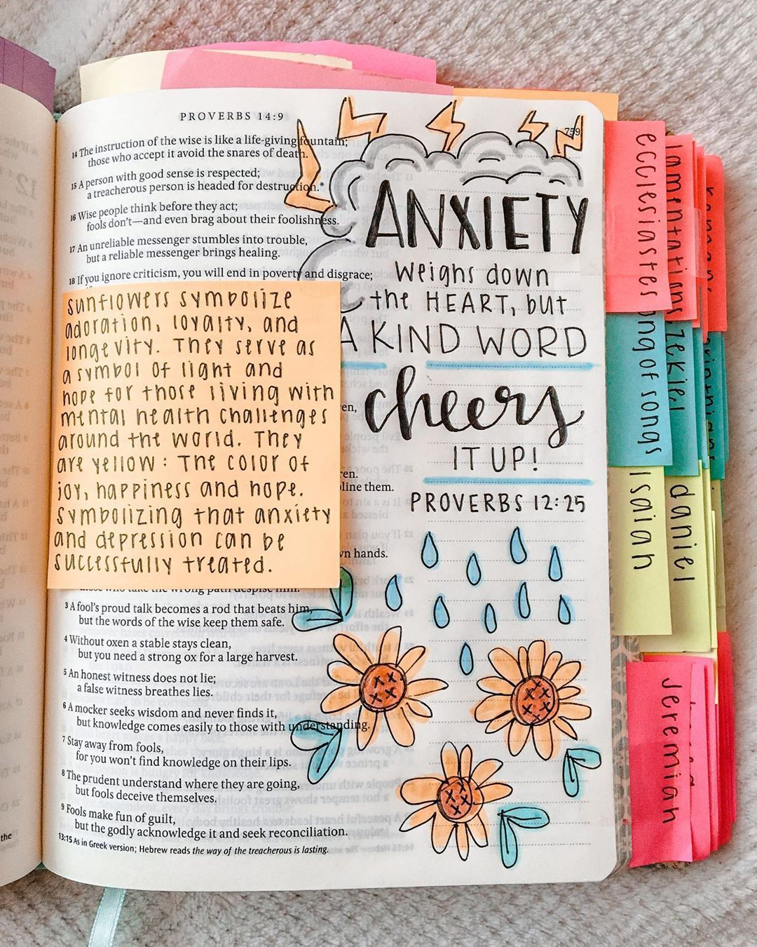 """✰ Kaley's Bible Journaling ✰ on Instagram: """"Worry weighs a person down; an encouraging word cheers a person up. - �������� 12:25 ☆☆☆ There are so many verses in the Bible that talk…"""""""