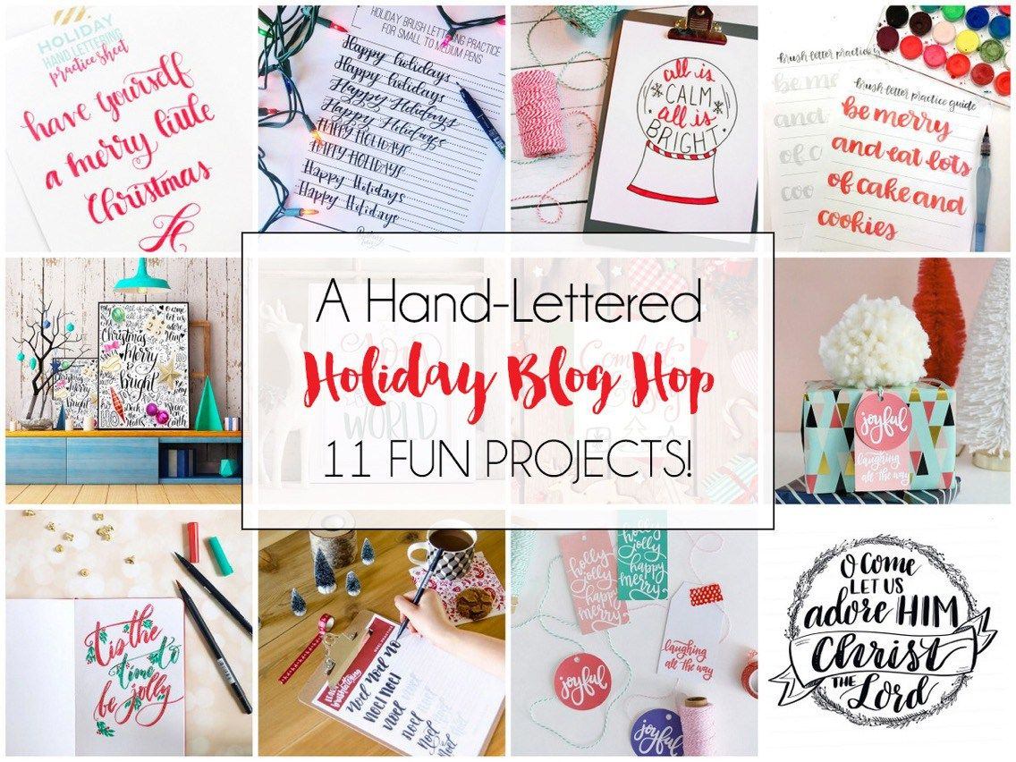 A Handlettered Holiday Blog Hop Free Holiday Lettering