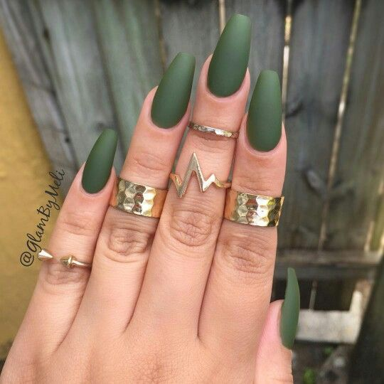 Army Green Acrylic Nails