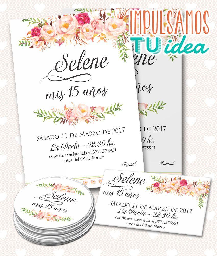 Invitación Cumple De 15 Con Personal Y Souvenir Imprimible