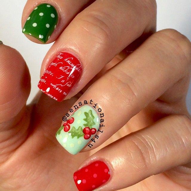 Christmas Mistletow Nail Art By Sensationails4u Nailart