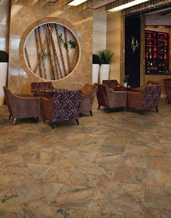 Ragno CALABRI color BR- installed in commercial space. What do you think about the unique tile pattern?