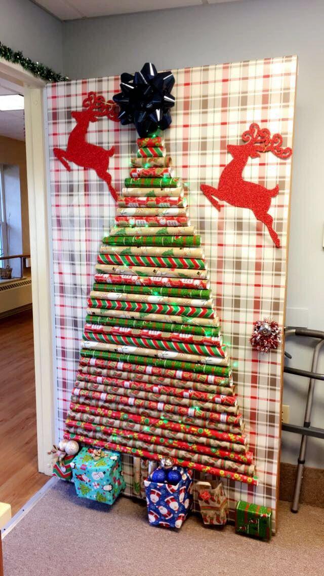 Wrapping Paper Door Decor Door Decorations Holiday Decor Decor