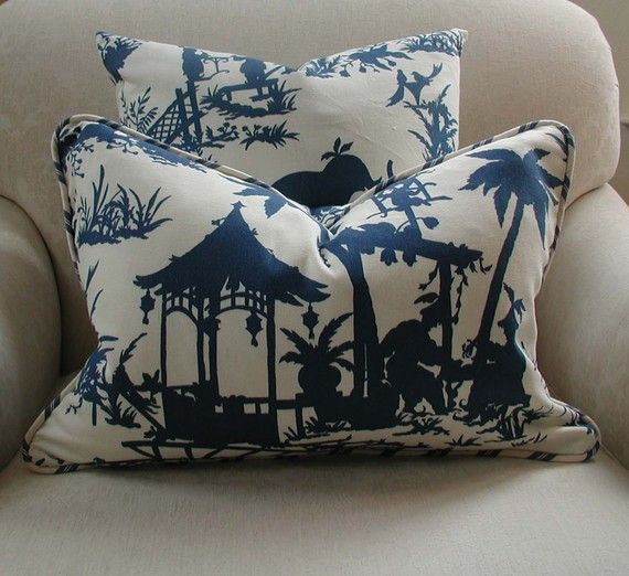 Chinoiserie Navy Blue And Cream Decorative Throw Pillow