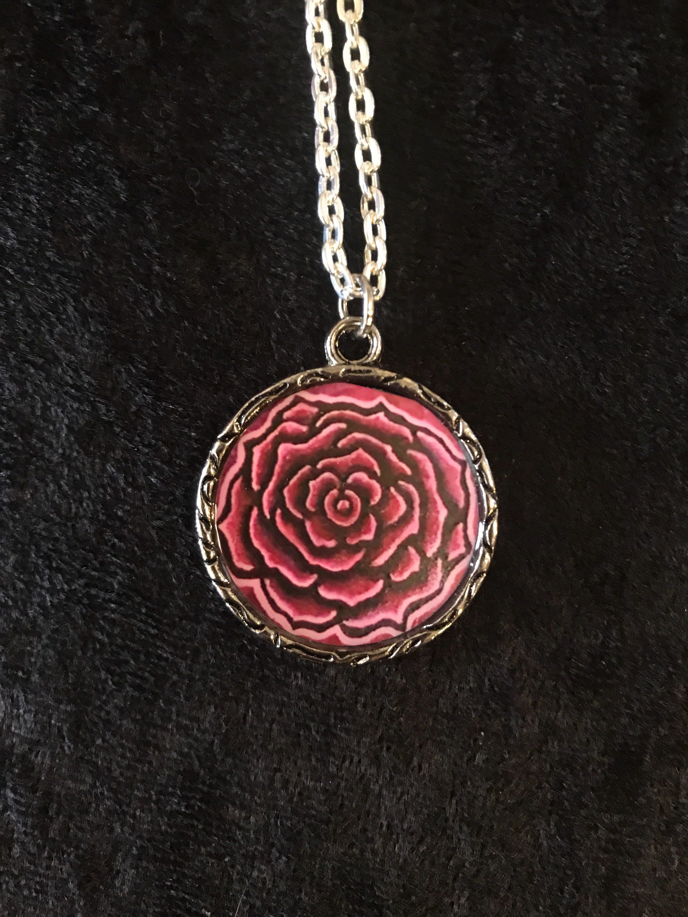 Pink Rose Pendant Necklace Pendant Necklace Pendants Jewelry