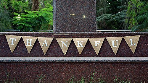 THANKFUL Banner-Ornate Give Thanks Banner- Rustic Chic Party Décor- Engagement Wedding Bridal Shower Décor-Holiday Bunting-Home and Outdoor Banner-Elegant Grateful Banner
