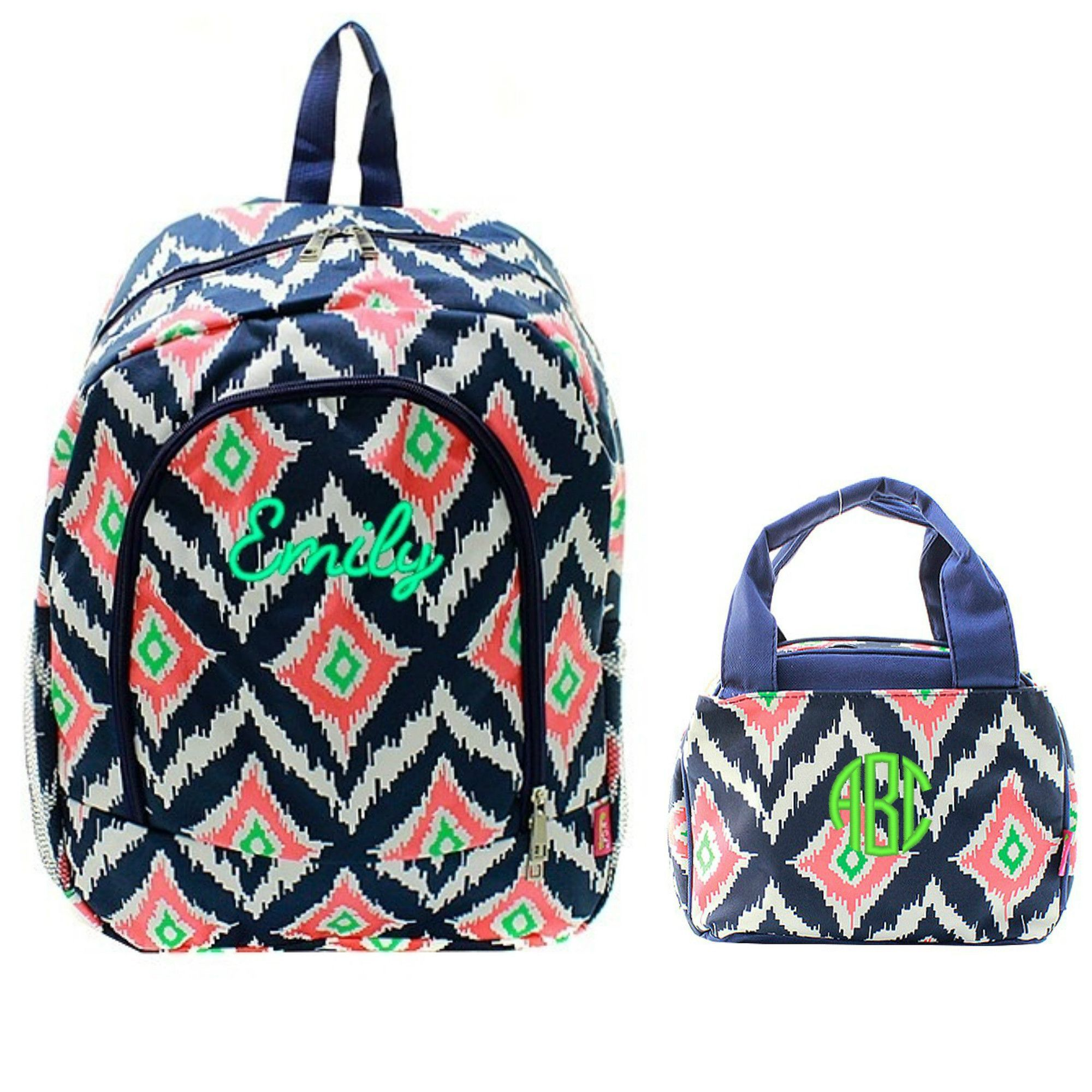 Matching Ikat Navy Personalized Kids Backpack & Lunch Bag Set ...