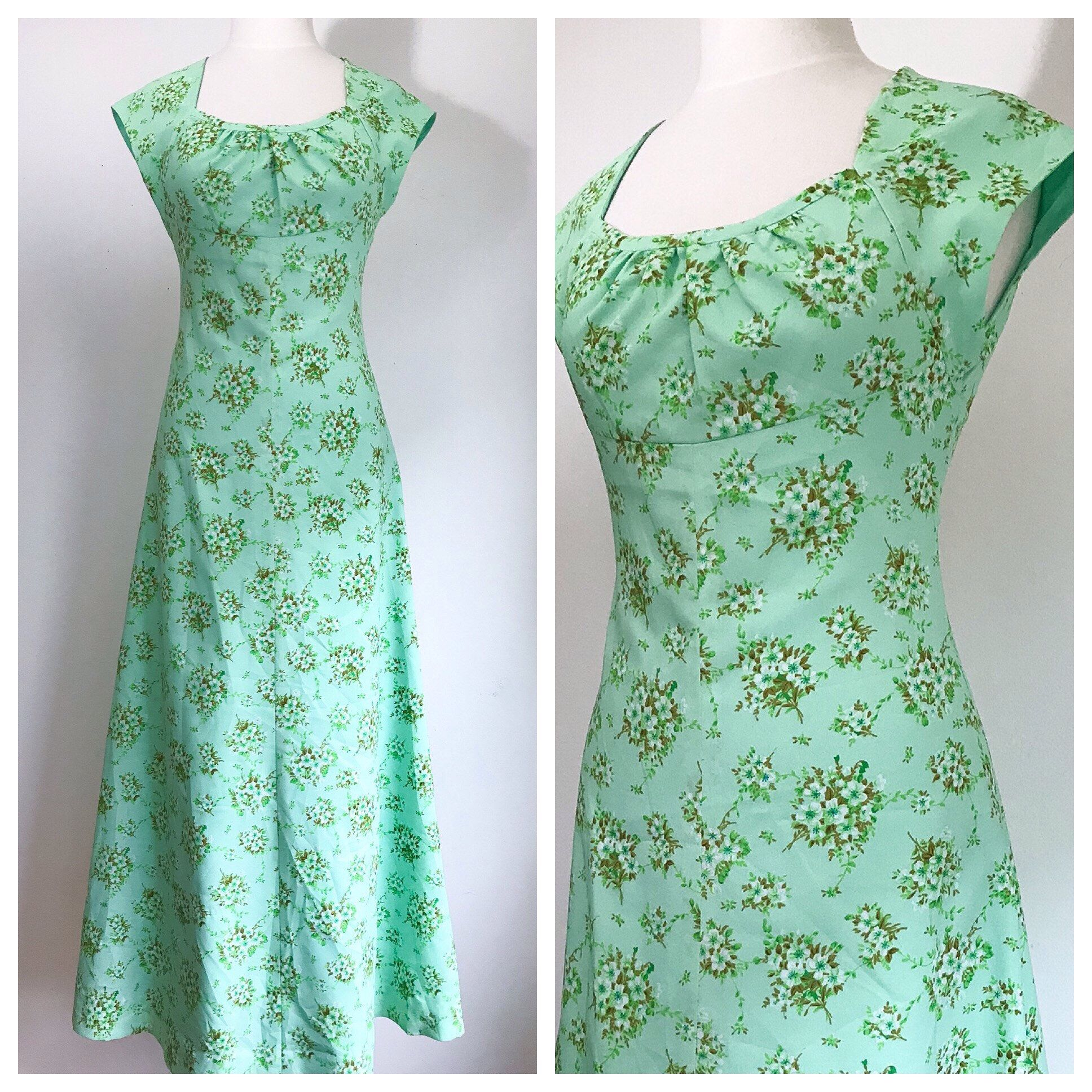Vintage Dress. 1960's Mint Green White And Brown Floral