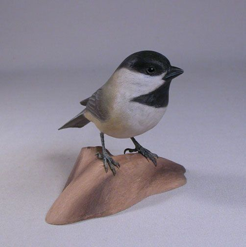 Black-capped Chickadee on Hand Carved Wooden Base by jjstudio