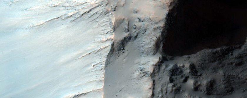 Rim Wall Terraces in Crater in Terra Sirenum