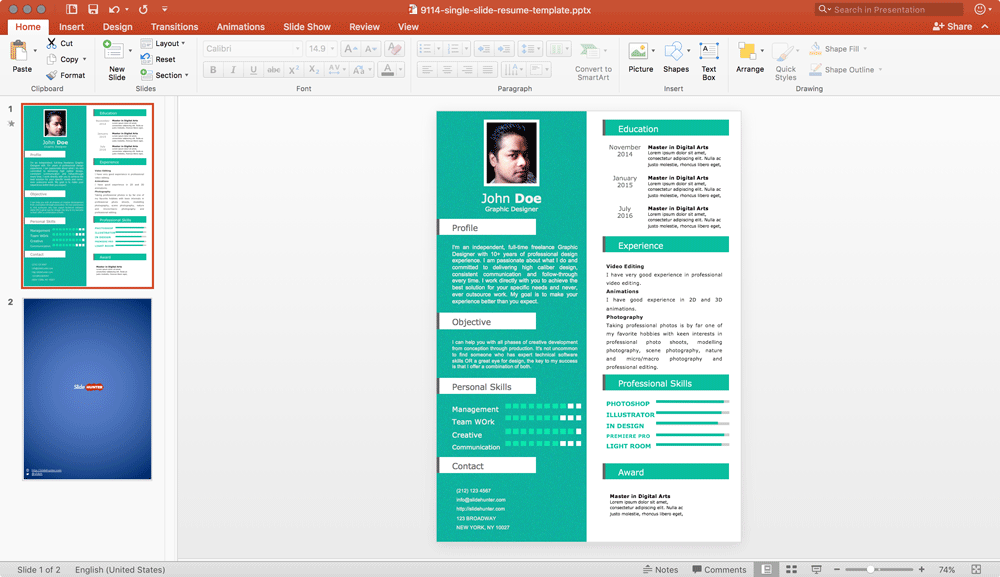 Free Single Slide Resume Powerpoint Template Resume Template Free Resume Templates Powerpoint Template Free