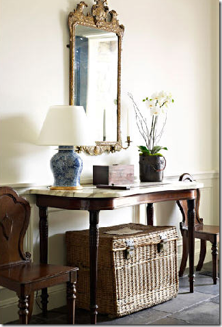 Lovely Entrance Vignette With Gilt Mirror, Marble Topped Table And English Hall  Chairs On A