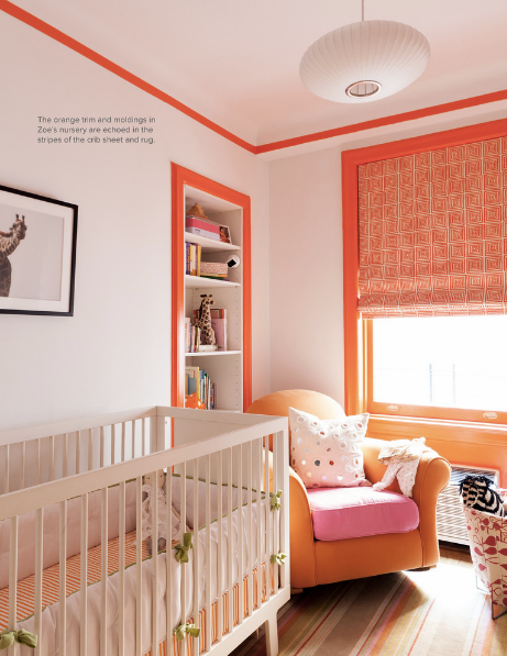 Paint Trim Colors Blush Pink Nursery With Neon Orange