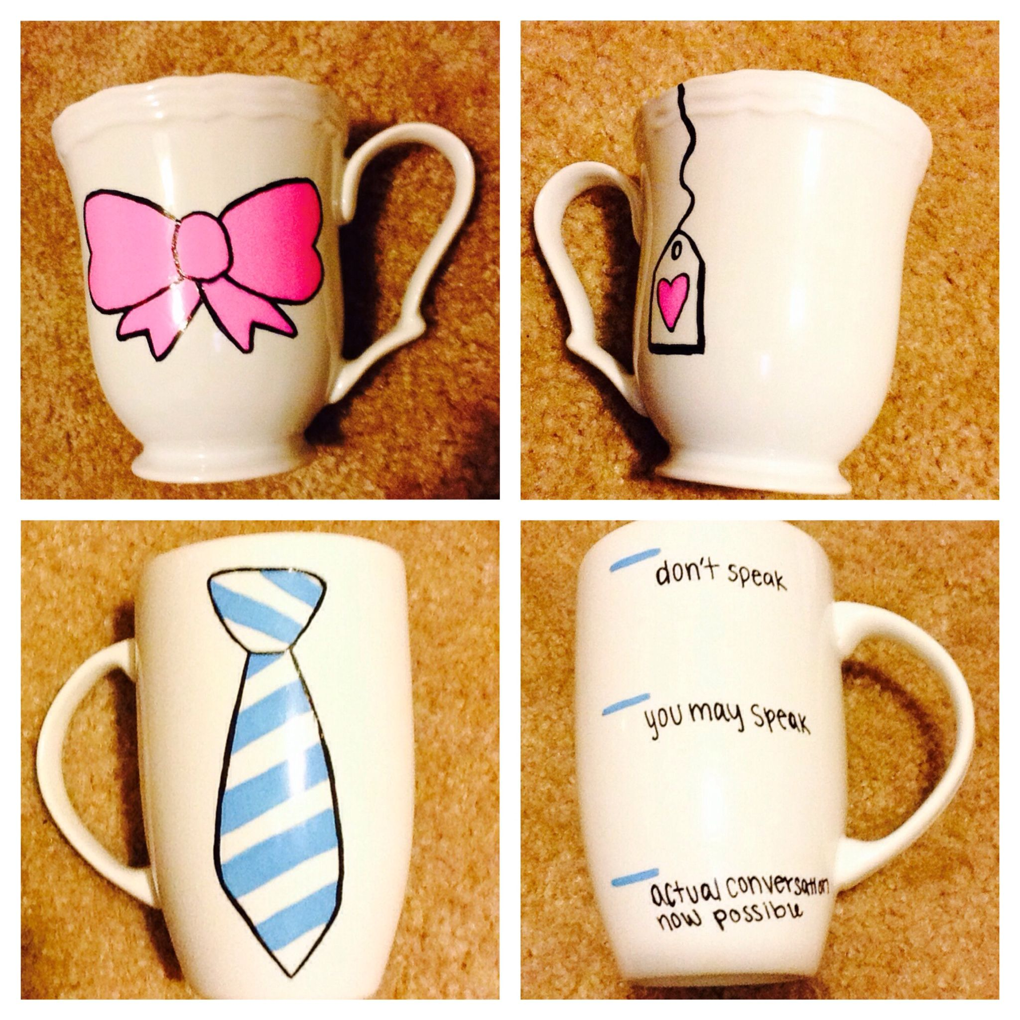 His and hers coffee, tea, mugs, DIY, holiday, gifts! Mugs