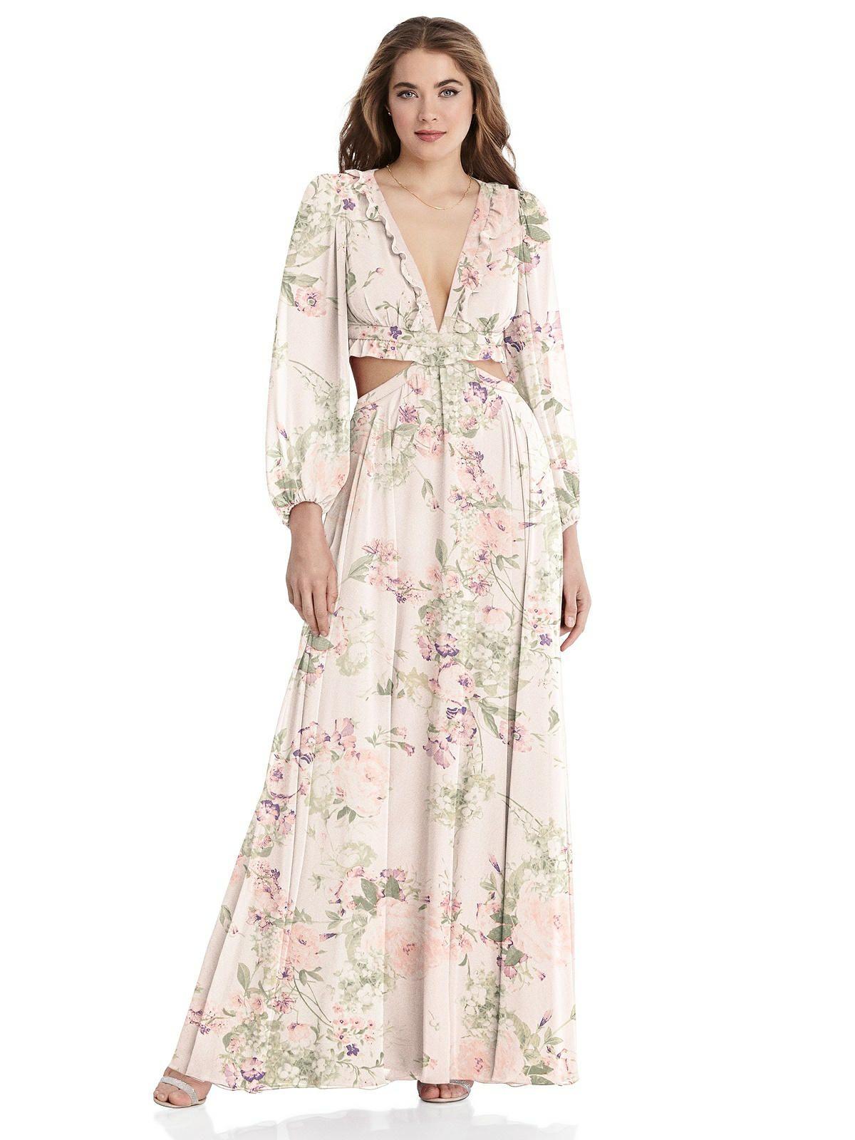 Bishop Sleeve Ruffled Chiffon Cutout Maxi Dress Harlow Cutout Maxi Dress House Dress Chiffon Ruffle [ 1600 x 1200 Pixel ]