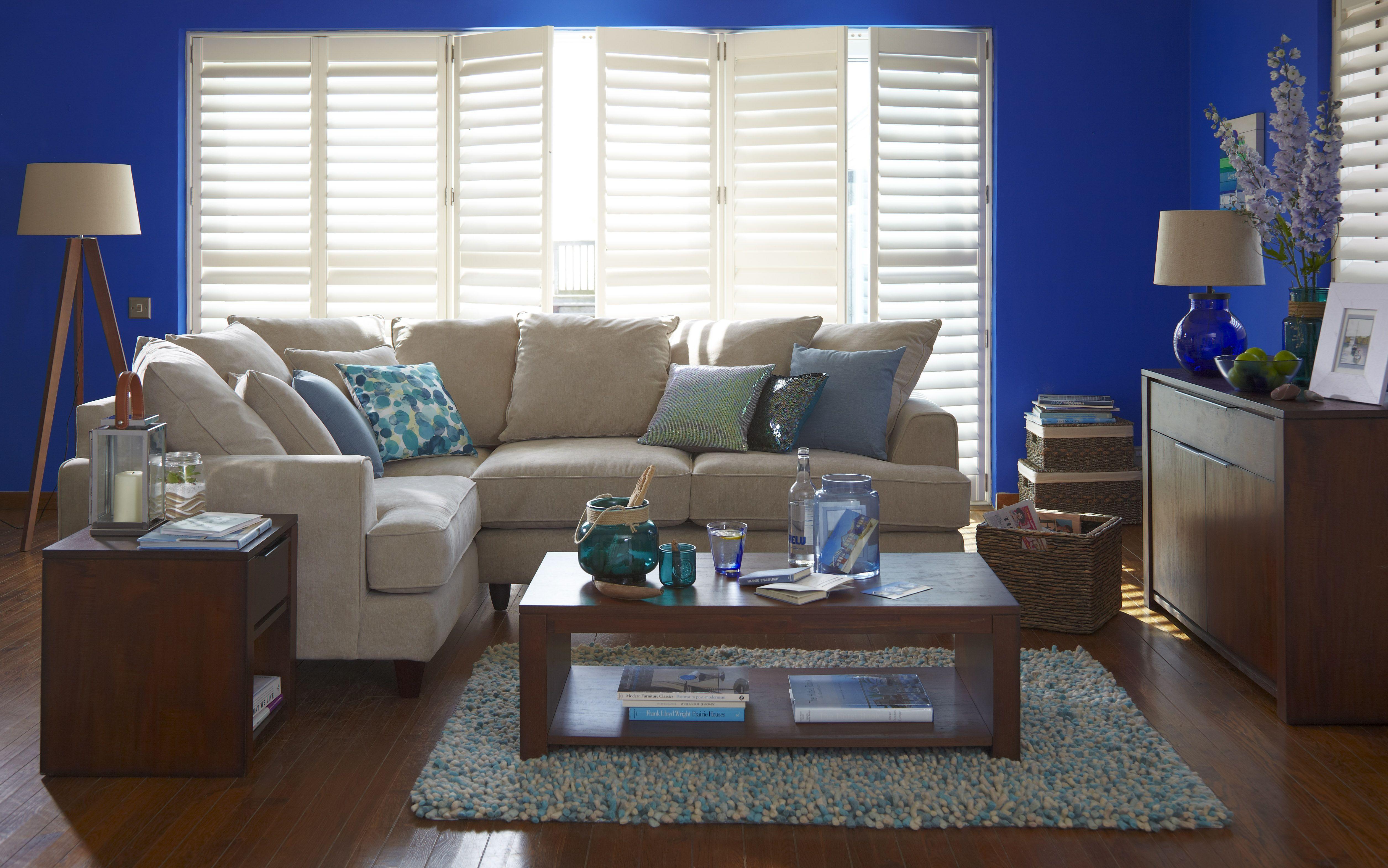 Best Dark Blue Living Room Setting Beige Sofa Wood Coffee Table 400 x 300