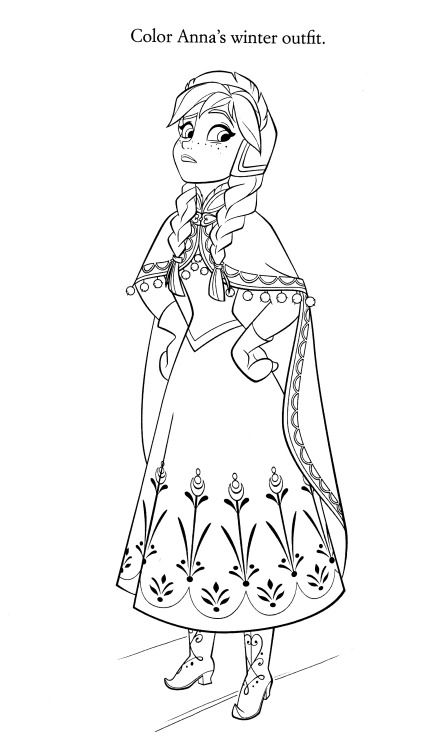 Frozen Ana Disney Coloring Page Coloring Pages Pinterest