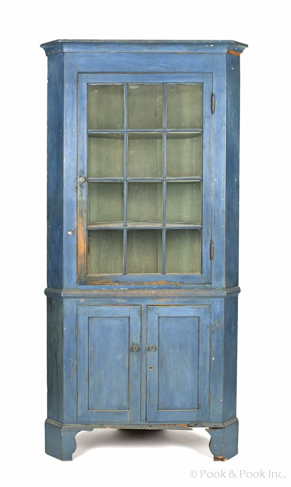 Realized Price: $3792 Pennsylvania two-part painted pine corner cupboard,  ca. 1820 - Realized Price: $3792 Pennsylvania Two-part Painted Pine Corner